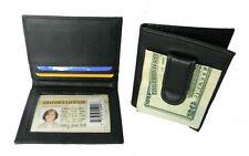 Black Leather Men's Money Clip Bifold Wallet Creid Card ID Holder New