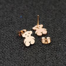 Cute Rose gold Plated Bear Stud Women Earrings Stainless Steel Earrings Jewelry