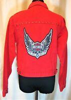 EUC Harley Davidson XS Red 100% Cotton Denim Wings Studs Conchos Jean Jacket