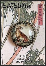 "TIGER Glass Dome BUTTON 1 1/4"" VINTAGE SATSUMA ART"