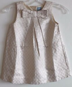 baby Gap NWT Girl Metallic Gold & Ivory Jacquard Dress or Jumper