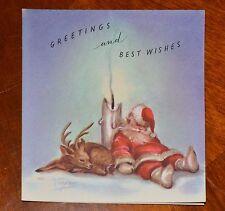 UNUSED ©1949 Vintage MARJORIE COOPER RUST CRAFT CHRISTMAS CARD SANTA DEER CANDLE