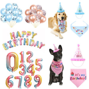 Pet Dog Birthday Headwear Hat Bandana Collar Balloons 0 1 2 3 4 5 6 7 8 9 Number