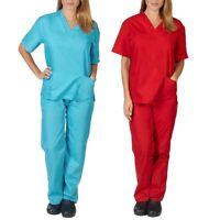 Men Women Short Sleeve V-neck Tops+Pants Nursing Working Uniform Set Suit