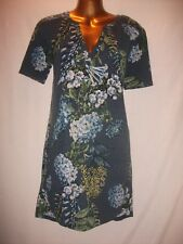 LADIES Next 8 NAVY BLUE FLEECE FINISH STRETCH/BLUE FLORAL/SLEEVED WINTER TUNIC