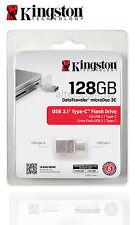 Type C USB 128GB USB 3.1  Kingston Flash Memory Drive  microDUO 3C DTDUO3C/128G