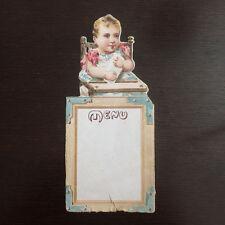 Chromo Menu Papier Découpé Bébé sur sa Chaise