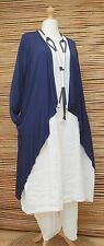 LAGENLOOK AMAZING WATERFALL SOFT 2 POCKETS LONG JACKET*NAVY* SIZE L/XL