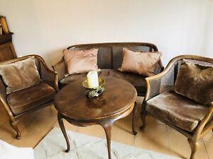 Chippendale Sitzmöbeln Sofa 2 Sessel Tisch Holz,geflochten