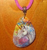 Einhorn Anhänger Magie Weiß Pferd Handgemacht Stein Kunst Gorbachova Perlen