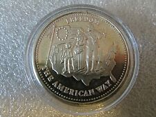1986 1oz Johnson Matthey Freedom The American Way .999 Fine Silver Round toned