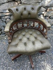 Captains Chair Green Leather Chesterfield Swivel Desk Armchair Needs Restoration