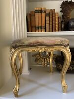 Vintage French Louis XIV Style Giltwood Stool