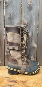 SOREL Conquest Camo/Brown CARLY NL2033-208 Lace Up WATERPROOF Boots Women's sz 7