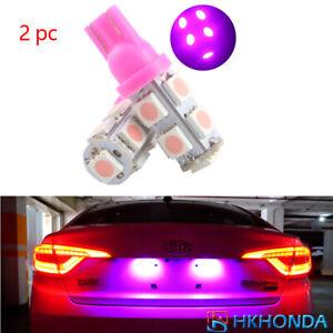 2Pcs  Pink T10 9 SMD 5050 194 2825 501 Bulb Car LED Wedge Light Plate Licen