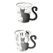 2x Heat-Resist Glass Double Wall Coffee Tea Cat pattern Cup Mug 200-300ml #1