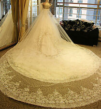 2016 Sparkly Crystal Cathedral Bridal Veils Luxury Long Applique Beaded Veil
