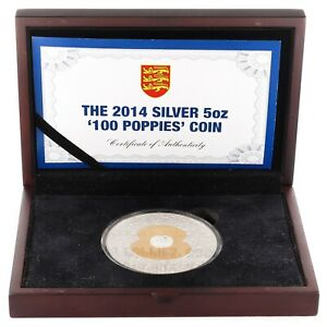 10 Pounds / 100 Poppies / Bailiwick Of Jersey 2014 / 5oz Silver Coin 925 155g