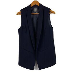 Vince Camuto Womens Size 2 Blue Work Blazer Vest Sleeveless Classic Career