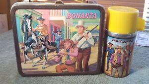 "Vintage 1965 ""Bonanza"" TV Western Cowboy  Metal Lunch Box  W/Thermos"