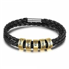 Personalized Black Braided Rope Mens Leather Custom Bracelet Beads Engraved Name