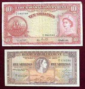 Bahamas, Bermuda     5,10 Shillings      1937, 1953     Fine+ to Very Fine