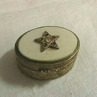VTG Italy ?Brass? & Celluloid Trinket Pill Box w Embossed Designs & Star, Stone
