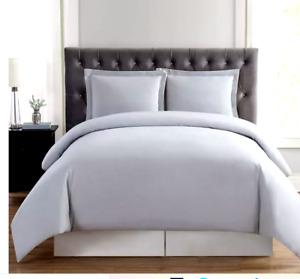 Truly Soft Twin XL Duvet and  Sham Set Brushed Silver Light Gray New in Package
