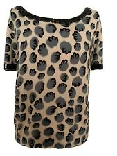 TWIN SET Simona Barbieri Top Dusty Pink Animal Print Sequins XL UK 14-16 Great
