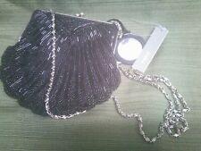 Vintage Replica Black Beaded Small Evening Bag/Purse Clam Shell Design APT 9
