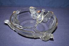 Clear Jeannette Glass 3 Pheasant Footed Bowl
