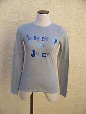 Juicy Couture LIGHTEN UP BE JUICY Heather Grey Long Sleeve Cotton T-Shirt - S