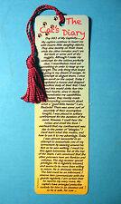 """The Cat's Diary""  Poem on a Tassel Bookmark (magenta tassel)-Sku# 114"