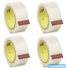 "3"" x 1000 Yds 2 Mil Clear 3M 371 Hot Melt Box Carton Sealing Tape 4 Rolls"