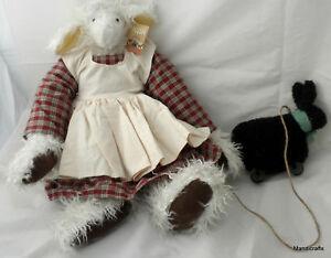 Mindy Mutton Sheep & Pal 18in Artist Lamb by Karen Drayne Curly Plush Hang Tag