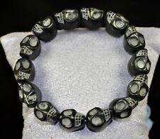 HOT Natural Stone Handcraft Skull Beads Stretchy Wristband Bracelet Cuff Black