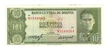 BOLIVIA  10 Pesos BOLIVIANOS  1962 MISMATCHED ERROR  P-154a  aUNC / UNC