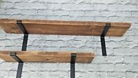 Wooden Workshop Shelves-Rustic Shelf-Metal Brackets/Solid Wood