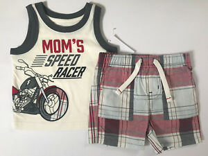 Toughskins 12 Months Top & Plaid Shorts Set Baby Boy Clothes Summer Outfit