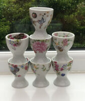 Vintage Style Floral Egg Cups X7. Pink Floral. Butterflies 6.5 Cm. Cottagecore