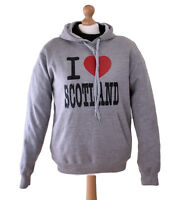 I love Scotland Hoodie, Men's Jumper, Grey, Size Medium, LI-SCO-0020