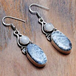 "Dendrite Opal Rainbow Moonstone Handmade Drop Dangle Earrings 1.92"" AE 31921"