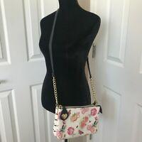 Betsey Johnson Crossbody Purse Black White Stripe Pink Rose Floral Chain Charm