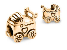 10K SOLID GOLD Baby Carriage Stroller Pram Fits EURO BRACELETS Charm Bead