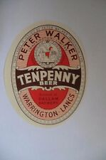 MINT PETER WALKER WARRINGTON TENPENNY BEER  BREWERY BEER BOTTLE LABEL