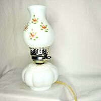 """Vintage Electric Hurricane 13"""" Lamp White Hand Painted Milk Glass Pink Flower"""