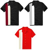 Retro Vintage Rockabilly Bowling Mens Shirts Plus Size Clothing