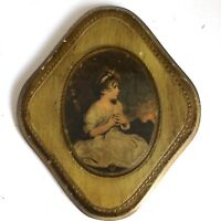 """Wall Plaque Girl Florentine 8.5"""" Toleware Wood Gold Gilded Vtg Italy"""
