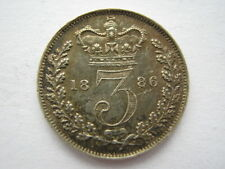 1886 Young Head silver Threepence GEF