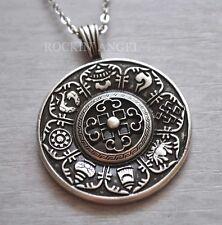 Antique Silver Plt 8 Auspicious Symbols Buddhism Pendant Necklace Mandala Yoga